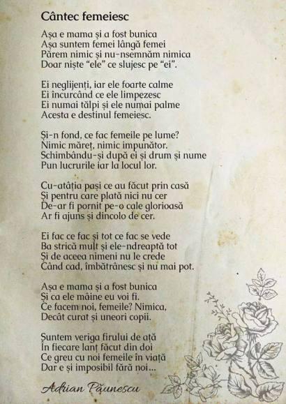 Cantec femeiesc- Adrian Paunescu