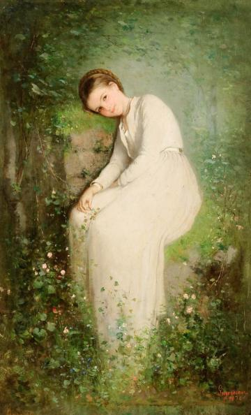pictura nicolae_grigorescu_-_o_floare_intre_flori_mlle_millet